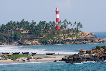 KOVALAM BEACH KERALA CATCHING THE EYES WITH ITS LIGHTHOUSE