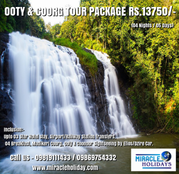 Coorg Mysore & Ooty Tour Package For 06 Days