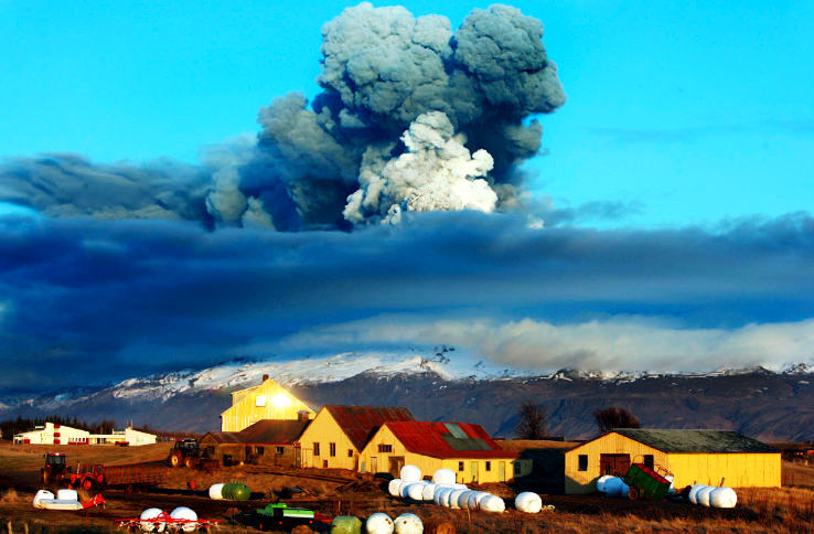 Eyjafjallajokull Volcano in Iceland Spewing High